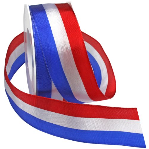 Morex Ribbon Liberty Wired Ribbon, 1-1/2-Inch by 22-Yard, Red/White/Blue