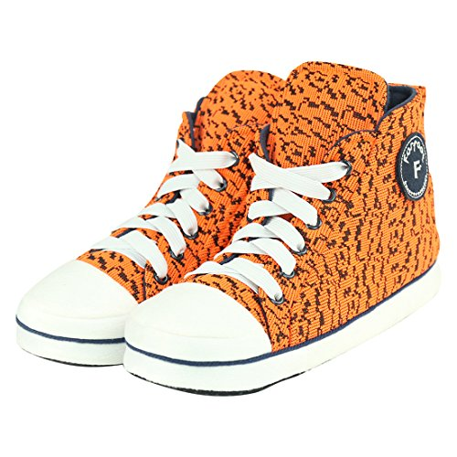 Forfoot Man's Cold Weather Fashion Warm High Top Indoor House Short Slipper Boots Shoes For Spring Gift Orange US Mens Size 7 by Forfoot
