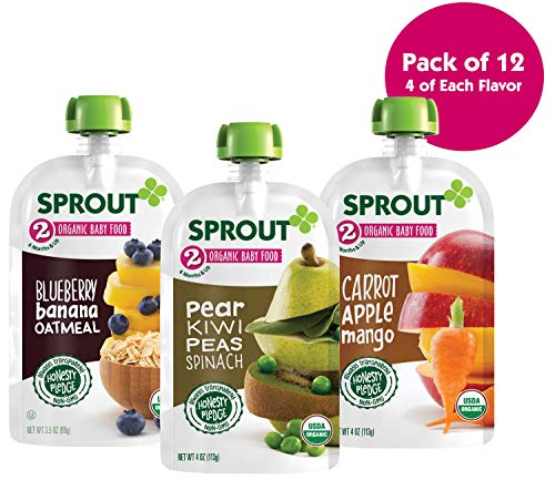 (Sprout Organic Baby Food Pouches Stage 2 Sprout Organic Baby Food Variety Pack (Pack of 12), Carrot Apple Mango, Blueberry Banana Oatmeal, Pear Kiwi Peas)