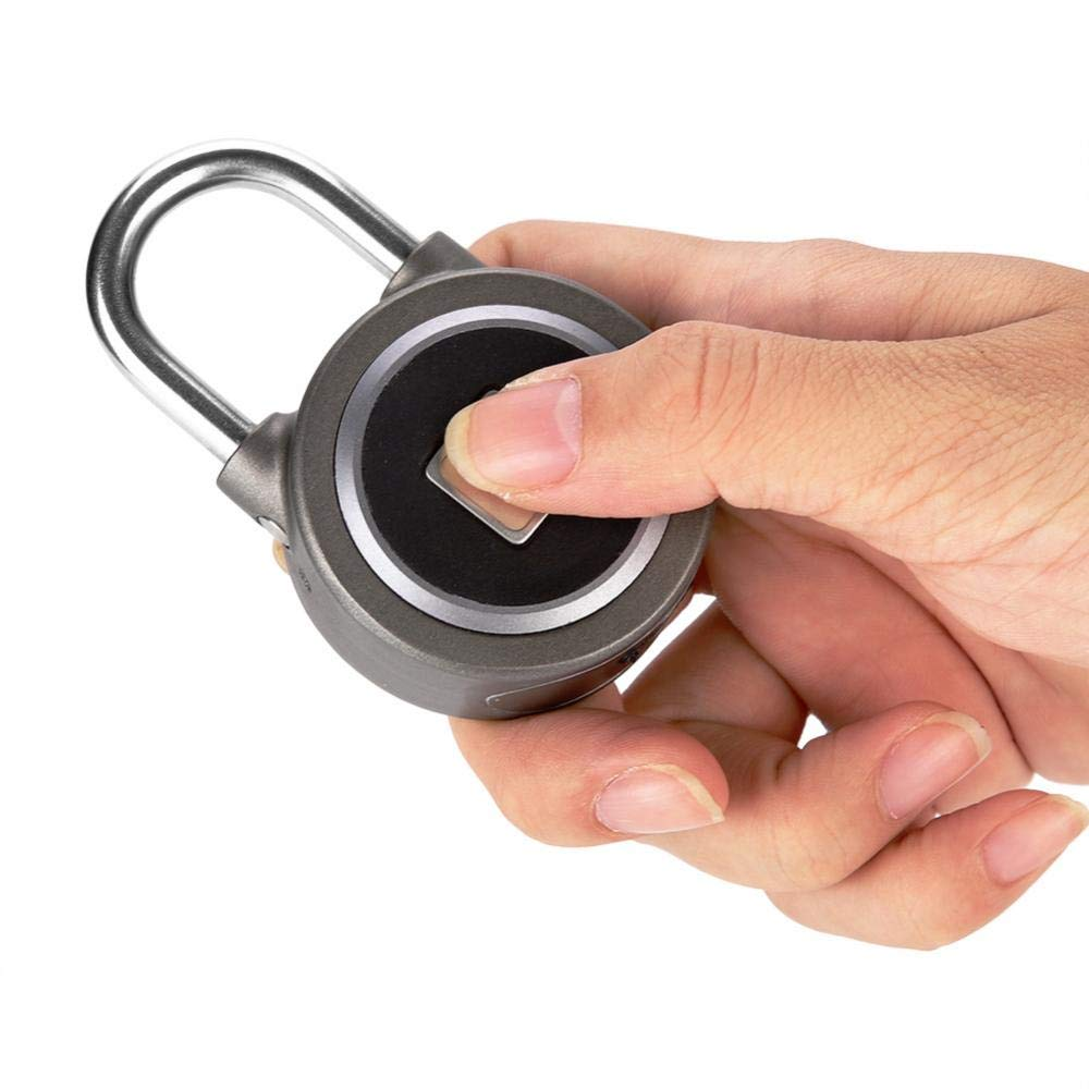 Maleta Candado con Huella Digital sin llave Compatibles iOS//Android APP Cerradura Metal Impermeable Seguridad Antirrobo para Puerta Casa Bluetooth Bloqueo Mochila Bicicleta
