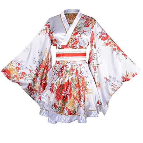 Sexy Short Kimono Costume Adult Women's Japanese Geisha Yukata Prints Gown Blossom Fancy Dress with OBI Belt (White) -