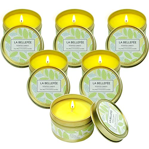 (LA BELLEFÉE Citronella Candles, 2.5oz Natural Scented Soy Wax Portable Travel Tin Candle Set, 15 Hour Burn, Outdoor and Indoor 6-Packs)