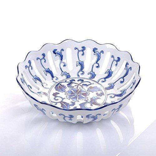 WENRAN Ceramic Plate/Pierced Fruit Plates/Creative Fruit Tray-B