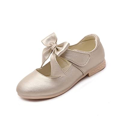 MaxTide Toddler Girls Pearls Ankle Strap Bling Ballet Flats Princess Dress Shoes White