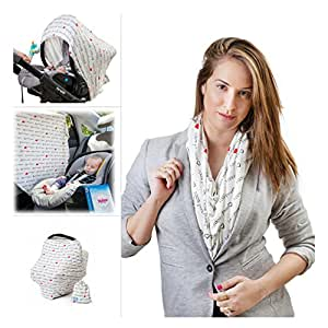 NULOVE Improved Nursing Breastfeeding Cover Scarf - Baby Car Seat Canopy, Car Window Shade, Shopping Cart, Stroller, Carseat Covers for Girls and Boys, Best Multi-Use Infinity Stretchy Shawl