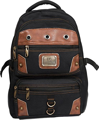 fdb16e7643 Image Unavailable. Image not available for. Color  Vintage Canvas Backpack  for Men Faux Leather Rucksack Knapsack Laptop ...