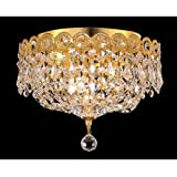Elegant Lighting 1900F10G/RC Royal Cut Clear Crystal Century 3-Light, Single-Tier Flush Mount Crystal Chandelier, Finished In Gold with Clear Crystals