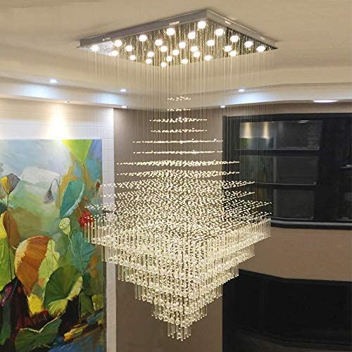 Moooni Modern Square Crystal Chandelier Ceiling Light Raindrop Flush Mount Lighting Fixture