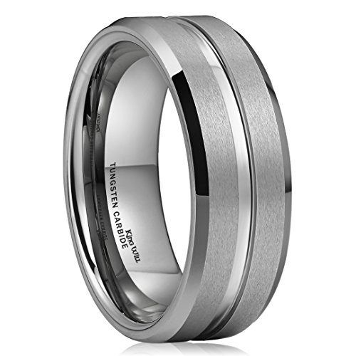King Will CLASSIC 8mm High Polished Center/Matte Finish Men's Tungsten Ring Wedding Band Comfort Fit by King Will