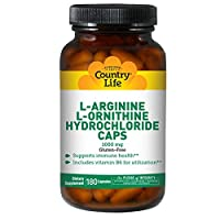 Country Life L-Arginine + L-Ornithine with B-6, 180 Caps, 1000 Mg