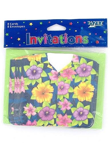 Summer Luau Colorful Hawaiian Shirt Gatefold Invites, 8ct, Beach Party Supplies