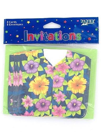 Summer Luau Colorful Hawaiian Shirt Gatefold Invites, 8ct, Beach Party Supplies
