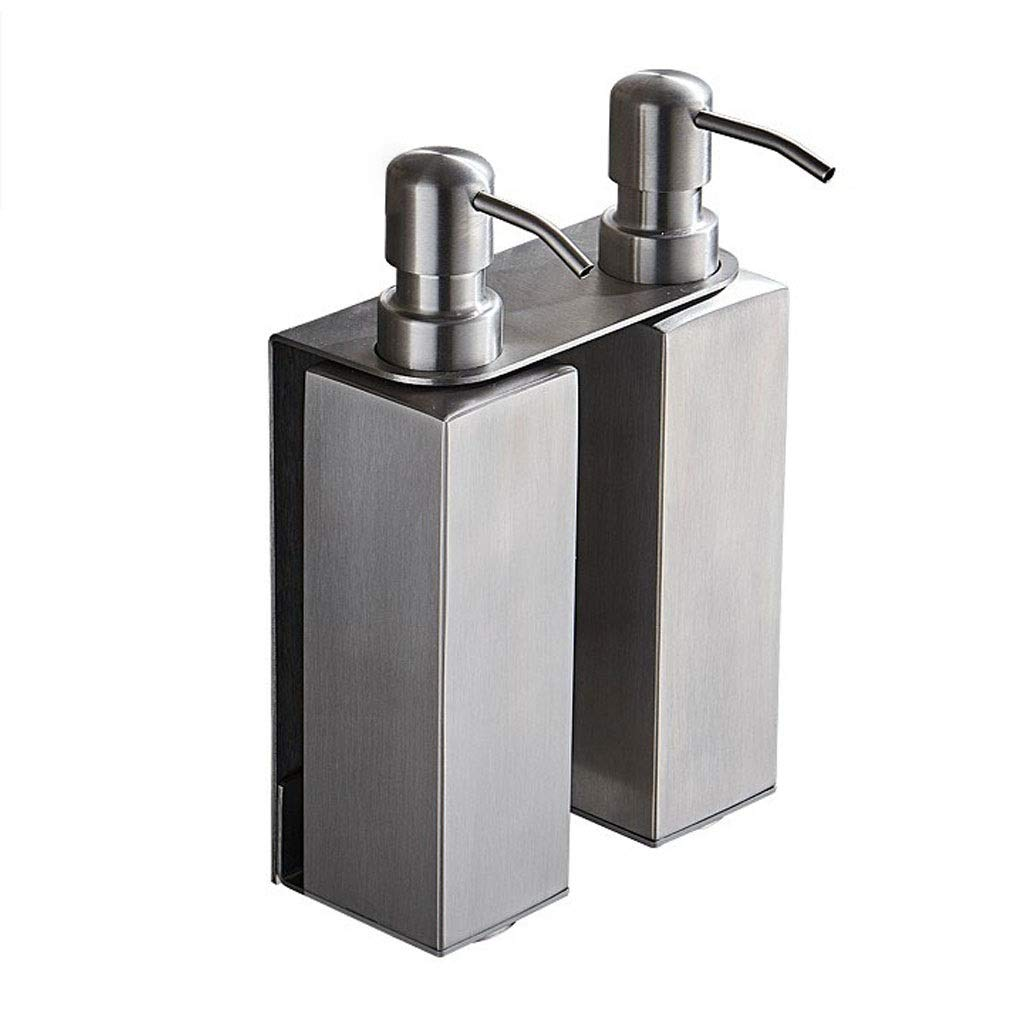 YSXZM Soap Dispenser, 304 Stainless Steel Brushed Hotel Bathroom 200ml2 Double Pump Wall-Mounted for Shampoo Gel Shower Box