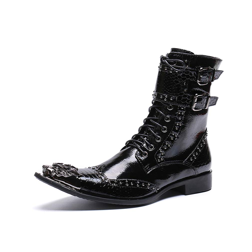Hy Men es Martens Stiefel, Leder Fall Fall Fall Winter Fashion Stiefel, Personality Pointed High-Top Stiefelies, High Stiefel Formal schuhe,schwarz,43 59d9b1