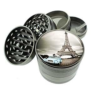 """Titanium 4 PC Magnetic Grinder 2.1"""" Hand Mueller D-034 Eiffel Tower Car Couple Kissing"""