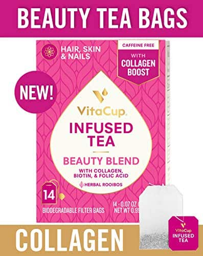 VitaCup Beauty Blend Infused Tea 14 ct |Keto|Paleo| Jasmine Herbal Rooibos Caffeine Free Tea with Collagen Types I & III, Biotin (B7) & Folic Acid (B9) Helps Support Healthy Hair, Skin & Nails