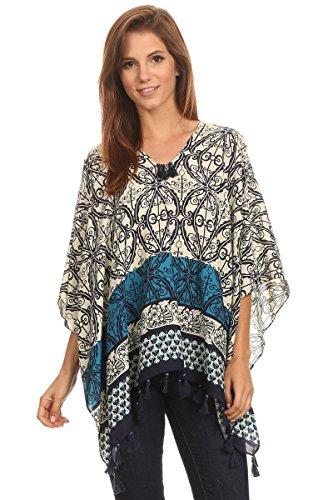 Kimono Pullover (LL Womens Aqua Blue Striped Pattern Pull Over Poncho with Blue Bead Tassels)