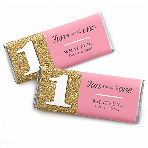 Custom Fun to be One - 1st Birthday Girl - Personalized First Birthday Party Favors Candy Bar Wrappers - Set of ()