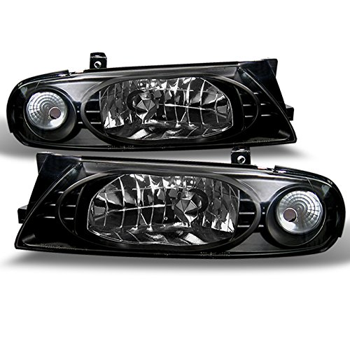 For 1993-1997 Nissan Altima GLE Gxe Se Xe JDM Black Crystal Headlights Front Lamps Pair Set
