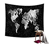 Black and White World Map Decor Tapestry Wall Art Hanging For Home Dorm Living Room Dorm Or Apartment Decoration HYC02-B-#10 W: 79'' x H: 59''