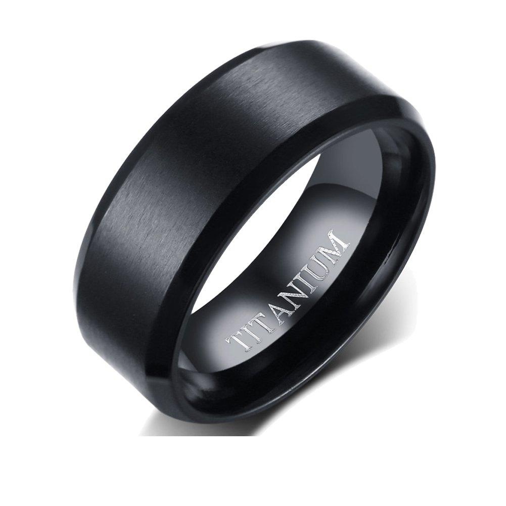 FANSING Men's Jewelry 8mm Titanium Black Wedding Rings Bands for Mens and Womens Size 11