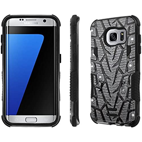 Galaxy S7 Edge Case, [NakedShield] [Black/Black] Combat Tough SHOCK PROOF with KICKStand - [Tire (Printed)] for Sales