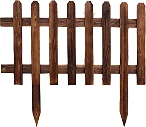 Wooden Garden Fence Solid Wood Fence Lawn Edge Decoration,Decorative Garden Edge,Outdoor Wooden Garden Bed Fence,Used for Vegetable and Fruit Planting,Terrace or Courtyard Gardening-Carbonized color