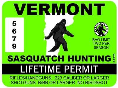 "RDW Vermont Sasquatch Hunting Permit - Color Sticker - Decal - Die Cut - Size: 4.00"" x 3.00"""