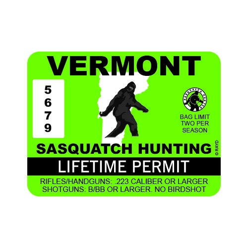 "RDW Vermont Sasquatch Hunting Permit - Color Sticker - Decal - Die Cut - Size: 4.00"" x 3.00"""