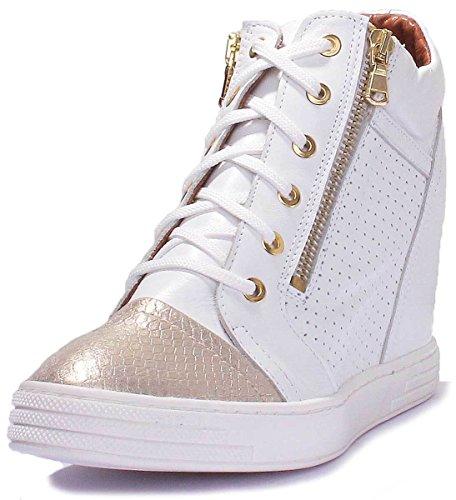 à CD195 Ville Chaussures Lacets Justin XB doré de Blanc Femme Pour Kaira Reece xUSUT0