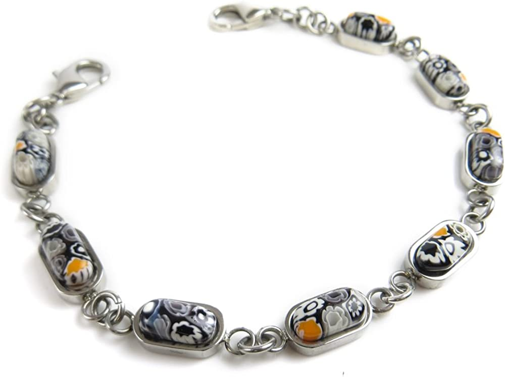 My Identity Doctor Black Millefiori Glass Interchangeable Medical Bracelet Strand