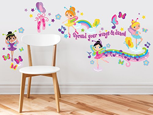 Sunny Decals Ballerina Fabric Wall Decals (Set of 4)