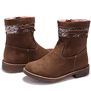 BTDREAM Toddler Girl's Zipper Winter Snow Ankle Boots Outdoor Walking Flat Shoes Brown Size 28