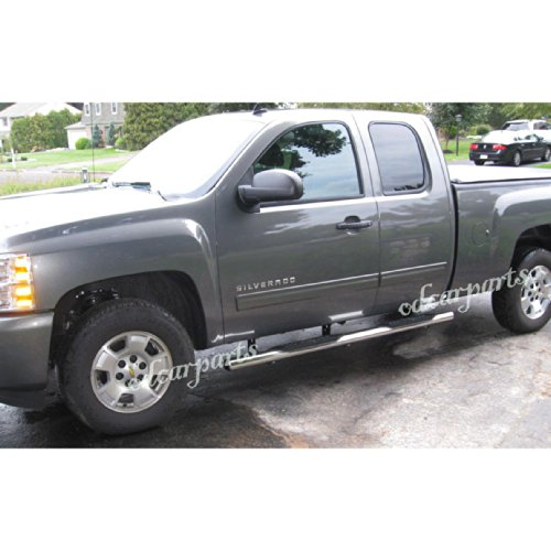 "VioGi Fit 99-13 Silverado/Sierra 1500/2500/3500 EXT Extended Cab 4"" Oval S/S Side Step Rails Nerf Bar Running Boards"