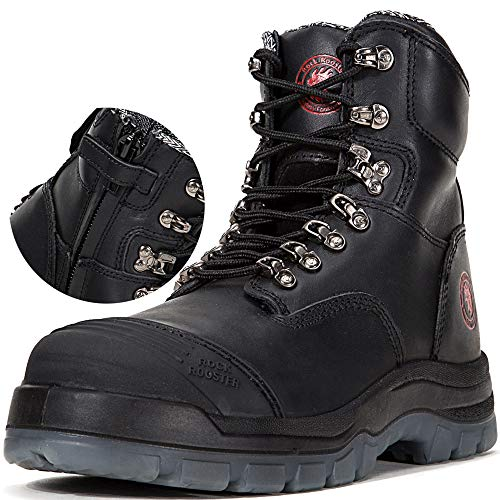 ROCKROOSTER Work Boots Men's Work Boots, Work Boots for Men, Steel Toe Boots, Safety Toe Boots Zippers, Water Resistant Shoes, Antistatic Shoes, Width EEE - Wide (AK245Z 10.5 jx) ()