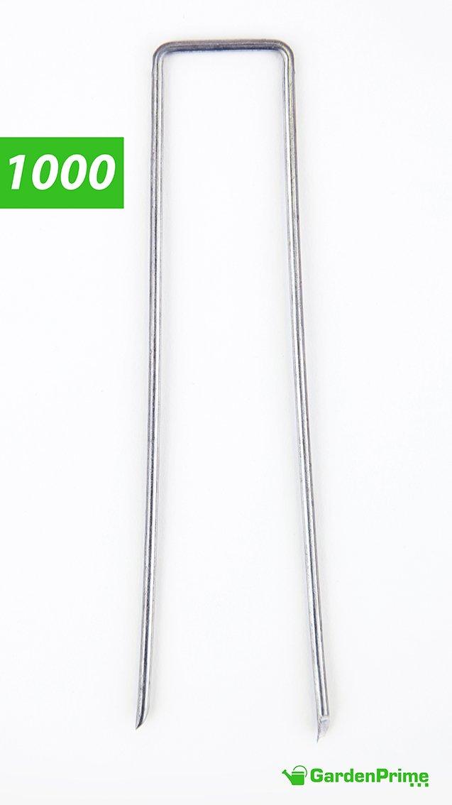 GardenPrime 2.8 mm Picchetti a U per Giardinaggio di Alta qualità Ancoraggio a terra per telo pacciamante, telo impermeabile o anti erbacce, recinzioni e reti, Misure 150 mm x 25 mm (Parent) (10, Zincato)