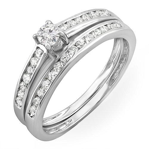 0.55 Carat (ctw) 10K White Gold Round Diamond Bridal Engagement Wedding Band Set 1/2 CT (Size 7)