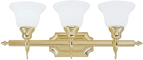 Livex Lighting 3 Light French Regency Polished Brass Bathroom Vanity Light Vanity Lighting Fixtures