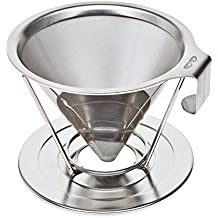 Reusable Pour Over Coffee Filter with Upgraded Cup Stand, Handle, and Extra Thick Stainless Steel - Portable Paperless Drip Coffee Maker Brews 1 to 4 Cups