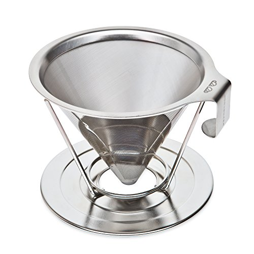 Auto Cappuccino Concentrate Cleaner (Reusable Pour Over Coffee Filter with Upgraded Cup Stand, Handle, and Extra Thick Stainless Steel - Portable Paperless Drip Coffee Maker Brews 1 to 4)