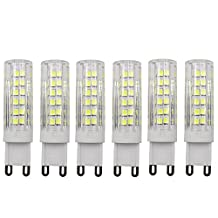 Dayker 7W G9 LED Silicone Caremic JD Type Lightbulb Daylight 360 Degree 75xSMD2835 Closet Accent Lighting Replacement for 60W Halogen(6 Pack)