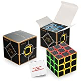mix up cube - ThinkMax 3x3x3 Carbon Fiber Sticker Speed Cube Smooth Magic Cube Puzzle Cube Black