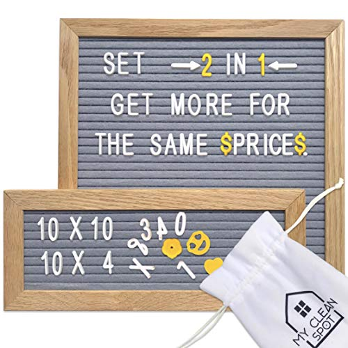 MCS Felt Letter Board Set | 2 Oak Frames- 10x10 + 10 x 4 inch | 680 Changeable Letters, Numbers+Emoji | Organization Accessories - Plastic Storage Organizer, Wood Stand, 2 Canvas Bags | Bonus Gift Box ()