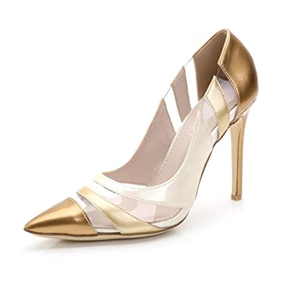 6575cc614e82c7 Xianshu Gradient Fight Farbe High Heel Schuhe Shallow Mund Punkt Zehe Pumps (Gold-38