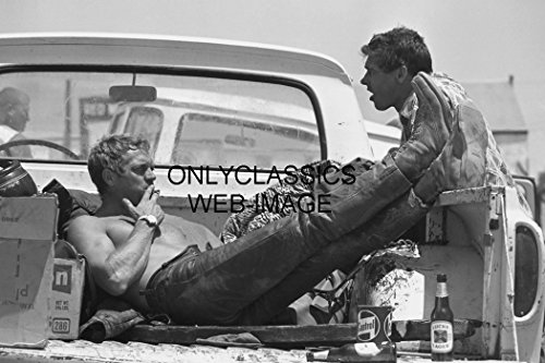 OnlyClassics Steve McQueen Relaxing Back of Pick-UP Truck Smoking 8X12 Photo Lucky Lager Beer ()