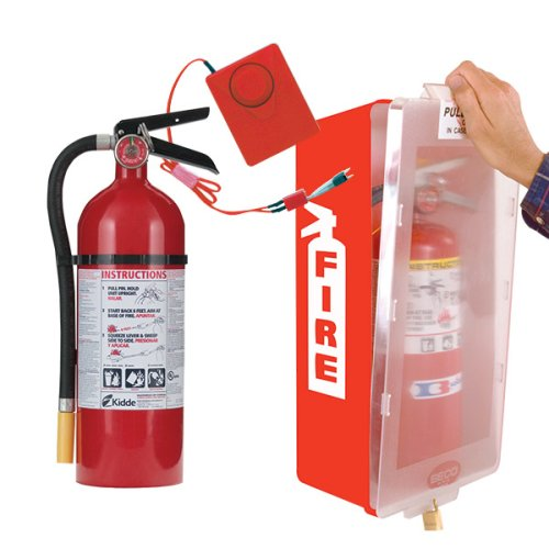 Kidde Fire Extinguisher with Cabinet, Red Tub/Clear Cover and Cabinet Alarm