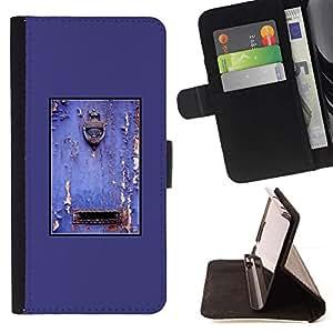 For Sony Xperia Z5 Compact Z5 Mini (Not for Normal Z5) Case , Púrpura rústica puerta Buzón pintura descascarada- la tarjeta de Crédito Slots PU Funda de cuero Monedero caso cubierta de piel