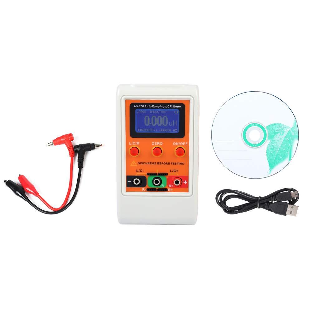 Akozon LCR Meter M-4070 LCR In Circuit Meter Testeur de gamme/inductance / capacitance/résistance automatique Précision de 1% Affichage à 5 chiffres Orange