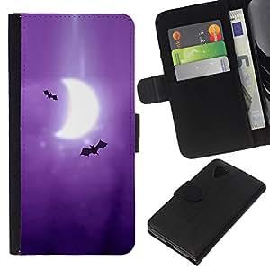 Leather Etui en cuir || LG Nexus 5 D820 D821 || Murciélagos Arte Dibujo púrpura de la luna de la Media Luna @XPTECH