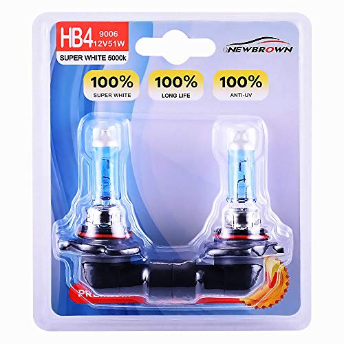 9006 HB4 Halogen Headlight Bulb with Super White Light P22D 12V/51W 5000K, 2 Pack,Long Life